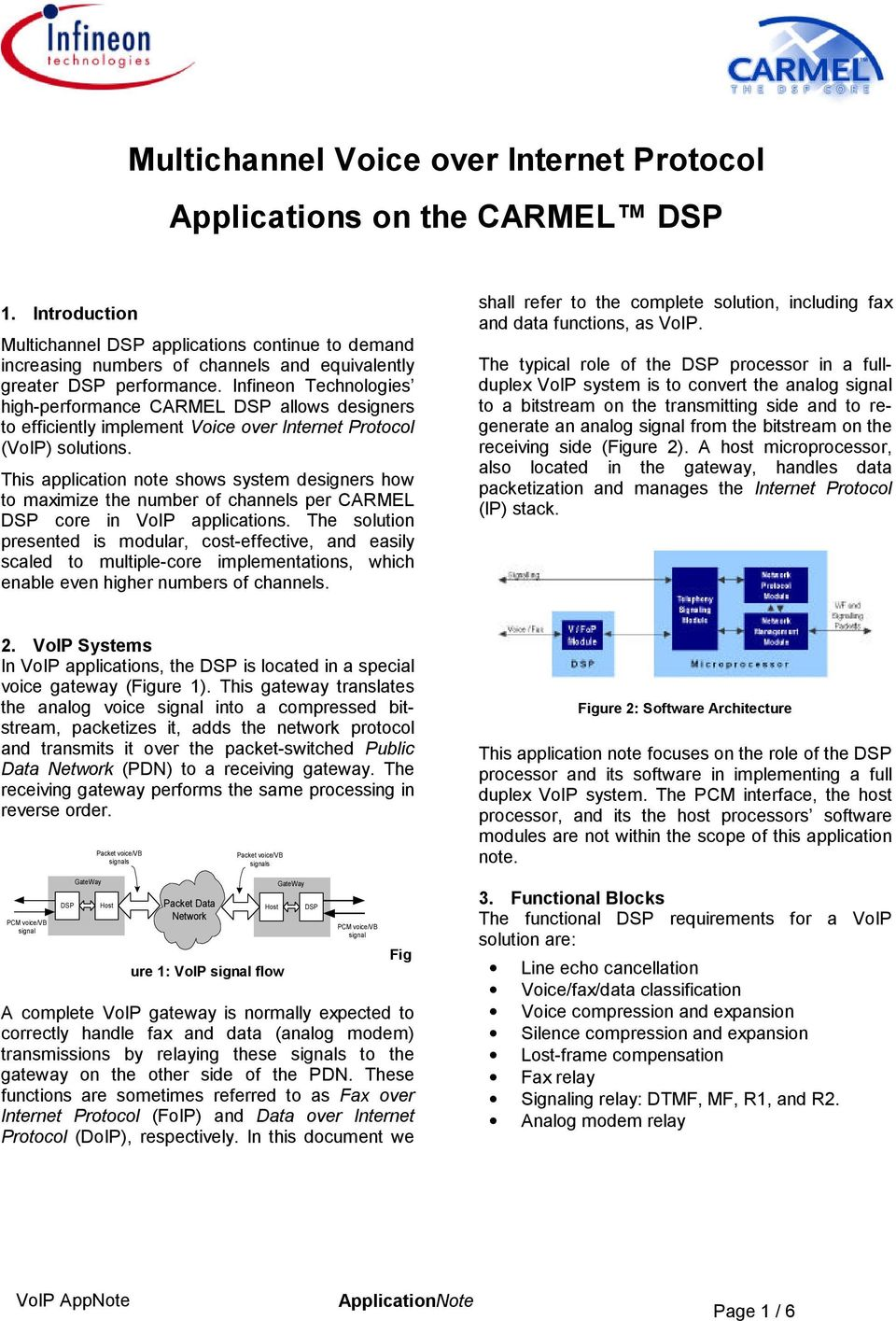 to maximize the number of channels per CARMEL DSP core in VoIP applications The solution presented is modular, cost-effective, and easily scaled to multiple-core implementations, which enable even