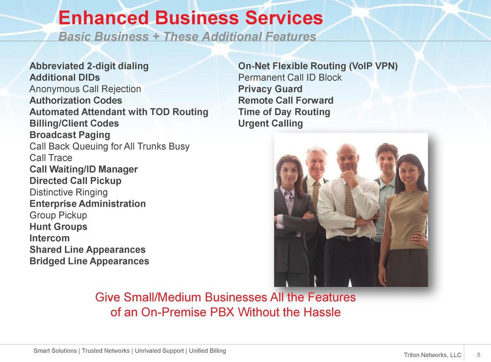 Pickup Distinctive Ringing Enterprise Administration Group Pickup Hunt Groups Intercom Shared Line Appearances Bridged Line Appearances On-Net Flexible Routing (VoIP