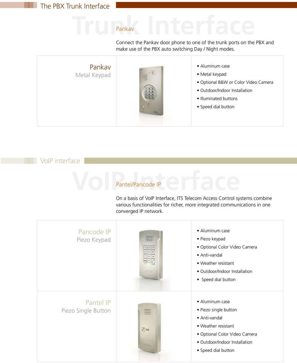 Pankav Metal Keypad Metal keypad Illuminated buttons VoIP interface VoIP Interface / IP On a basis of VoIP Interface, ITS Telecom Access Control systems
