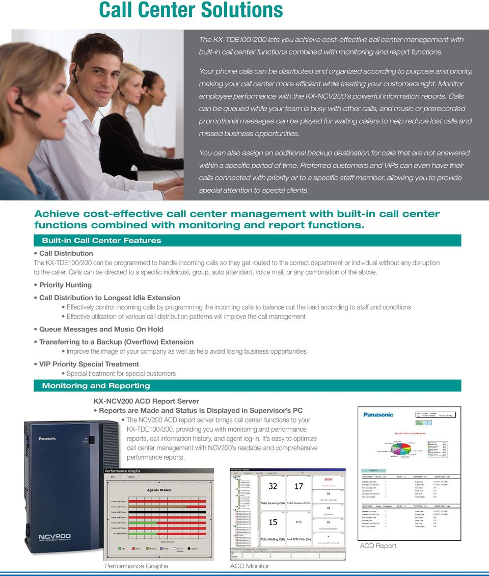 Monitor employee performance with the KX-NCV200 s powerful information reports.