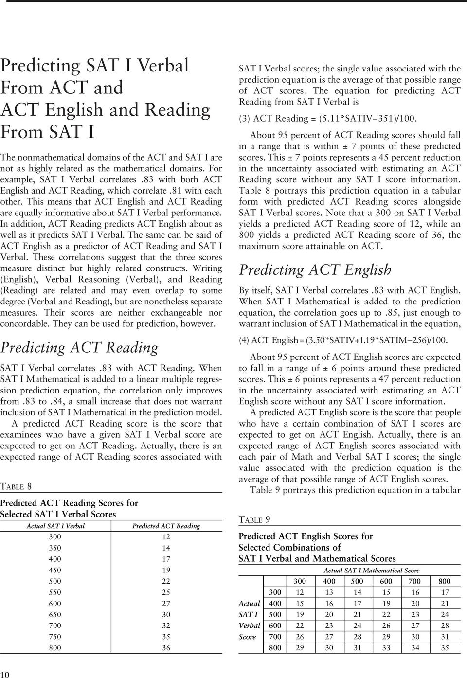 This means that ACT English and ACT Reading are equally informative about SAT I Verbal performance. In addition, ACT Reading predicts ACT English about as well as it predicts SAT I Verbal.