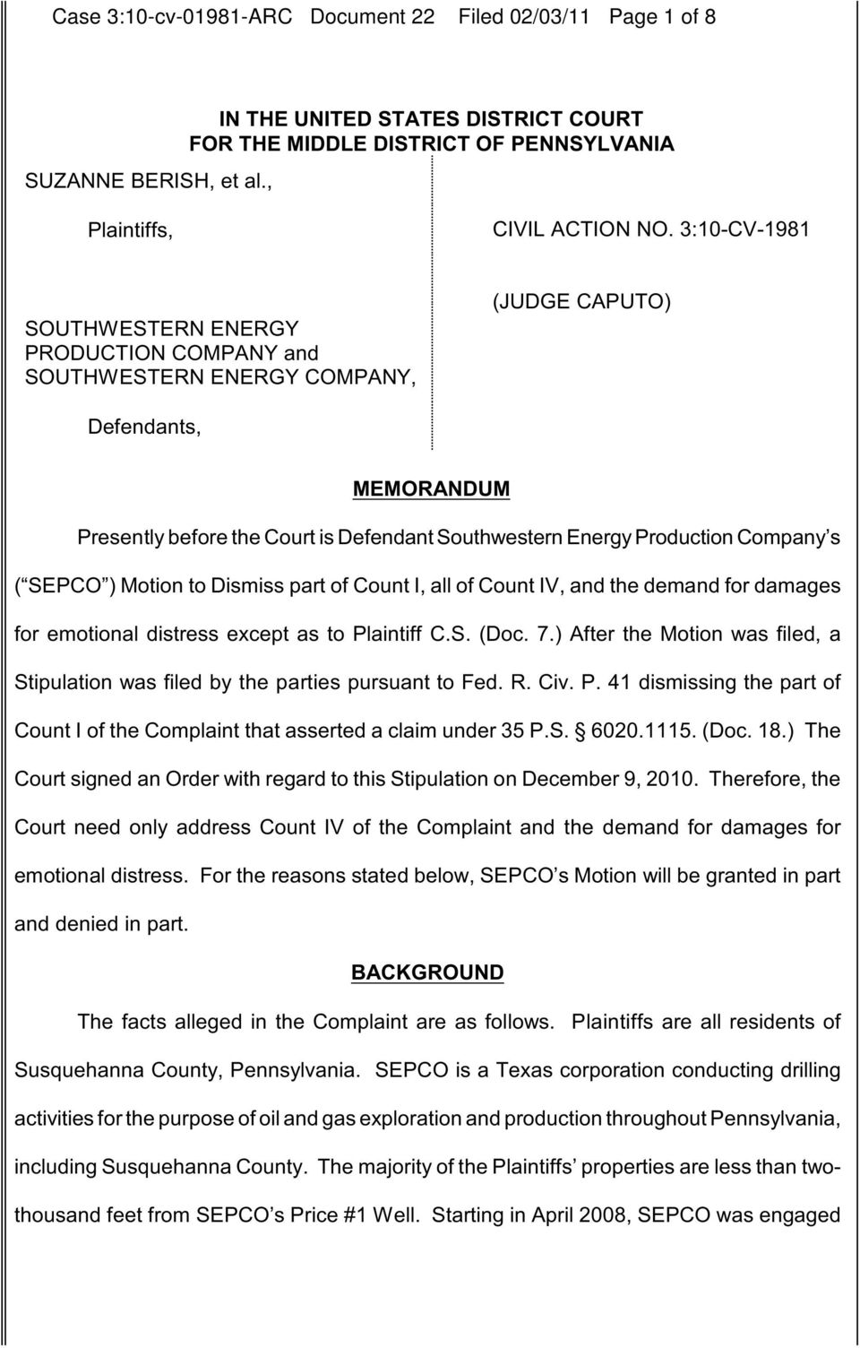 Company s ( SEPCO ) Motion to Dismiss part of Count I, all of Count IV, and the demand for damages for emotional distress except as to Plaintiff C.S. (Doc. 7.