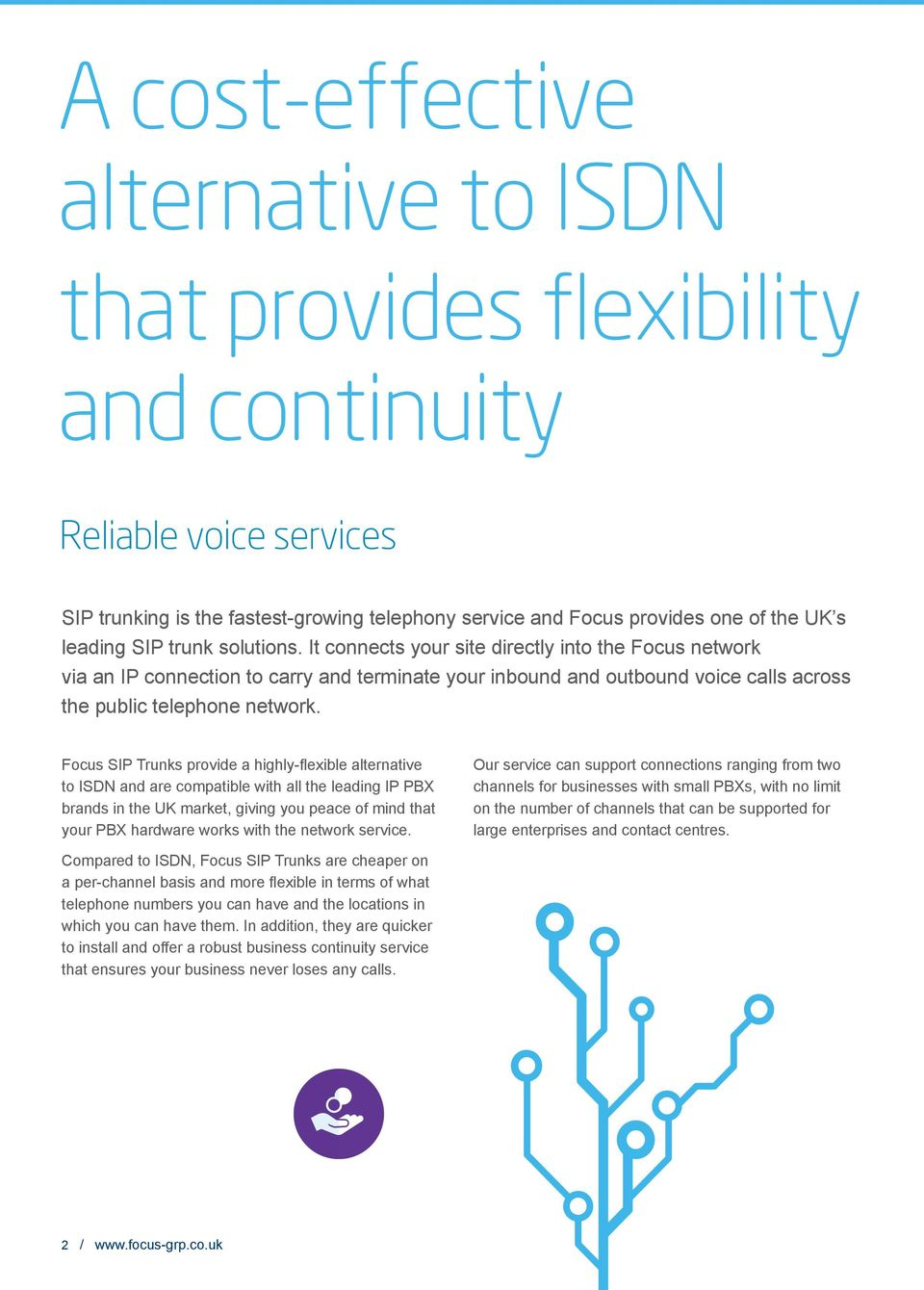 Focus SIP Trunks provide a highly-flexible alternative to ISDN and are compatible with all the leading IP PBX brands in the UK market, giving you peace of mind that your PBX hardware works with the