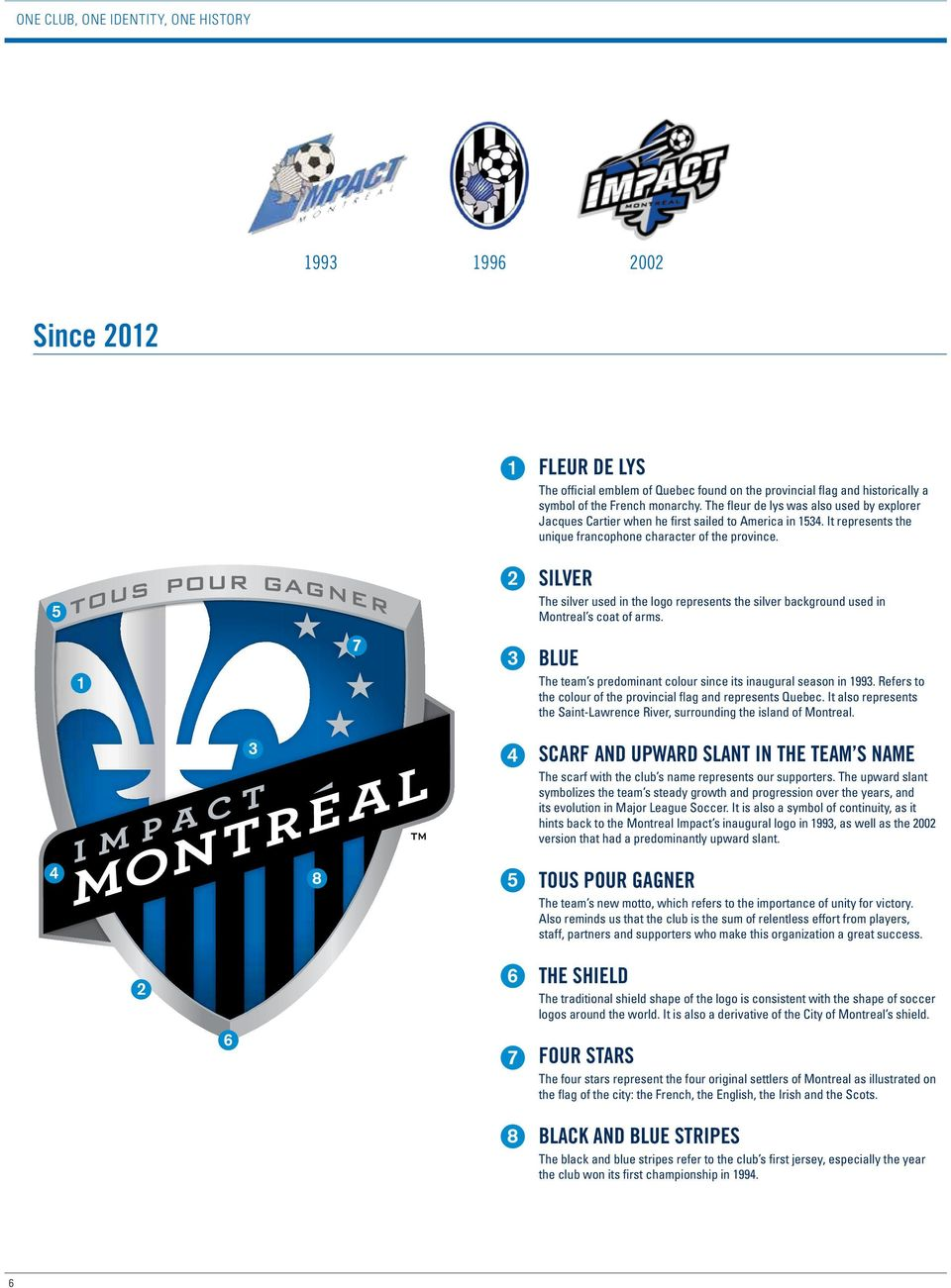 5 2 SILVER The silver used in the logo represents the silver background used in Montreal s coat of arms. 1 7 3 BLUE The team s predominant colour since its inaugural season in 1993.