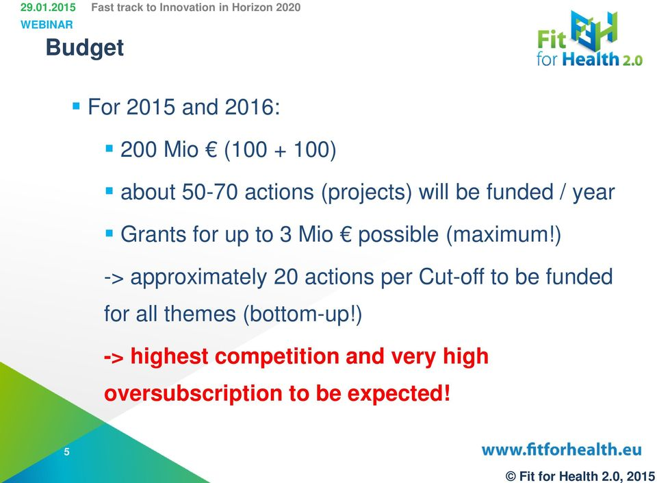 ) -> approximately 20 actions per Cut-off to be funded for all themes