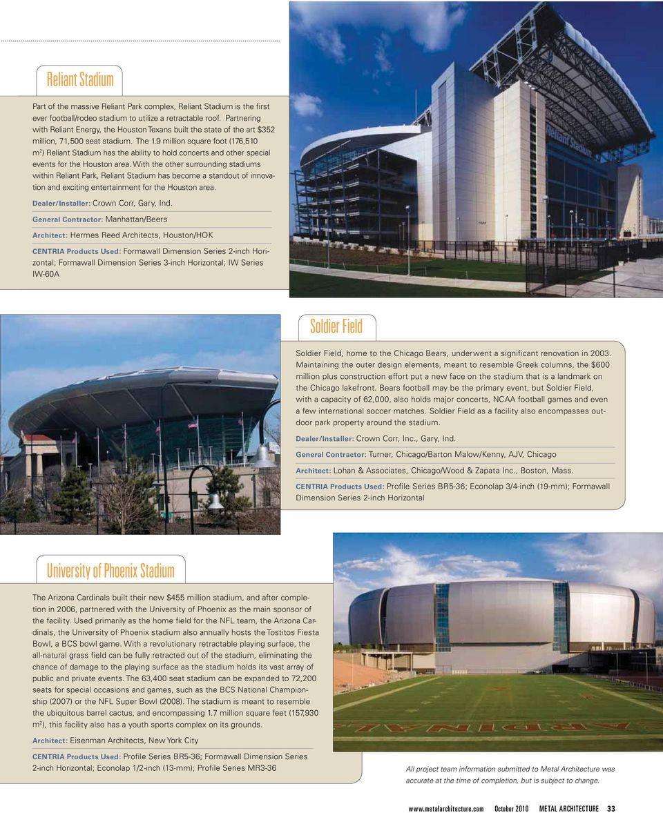 9 million square foot (176,510 m 2 ) Reliant Stadium has the ability to hold concerts and other special events for the Houston area.