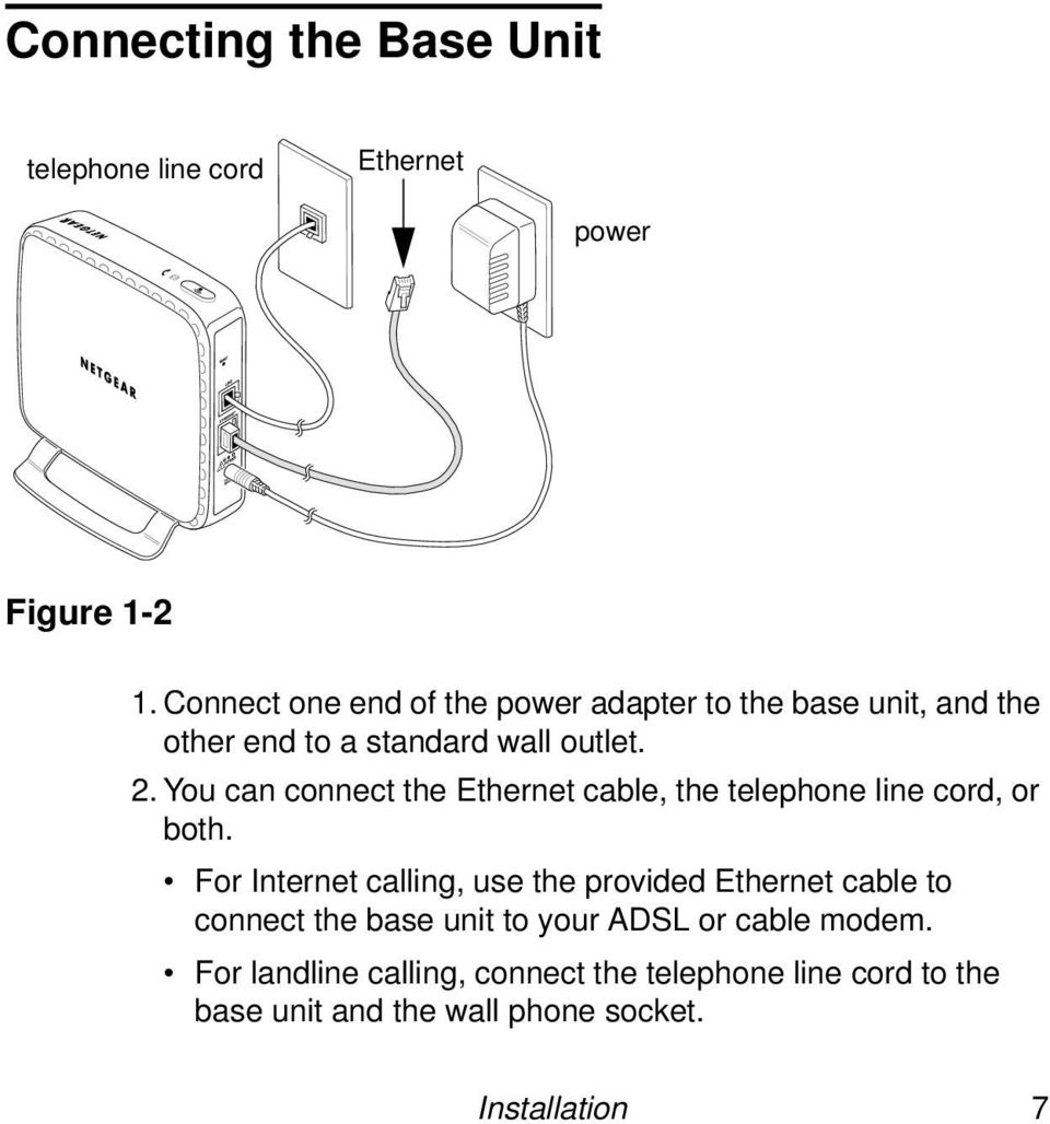 You can connect the Ethernet cable, the telephone line cord, or both.