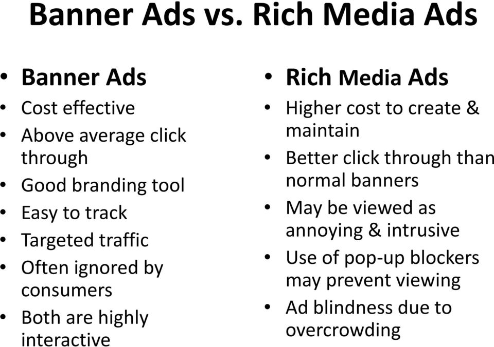 track Targeted traffic Often ignored by consumers Both are highly interactive Rich Media Ads