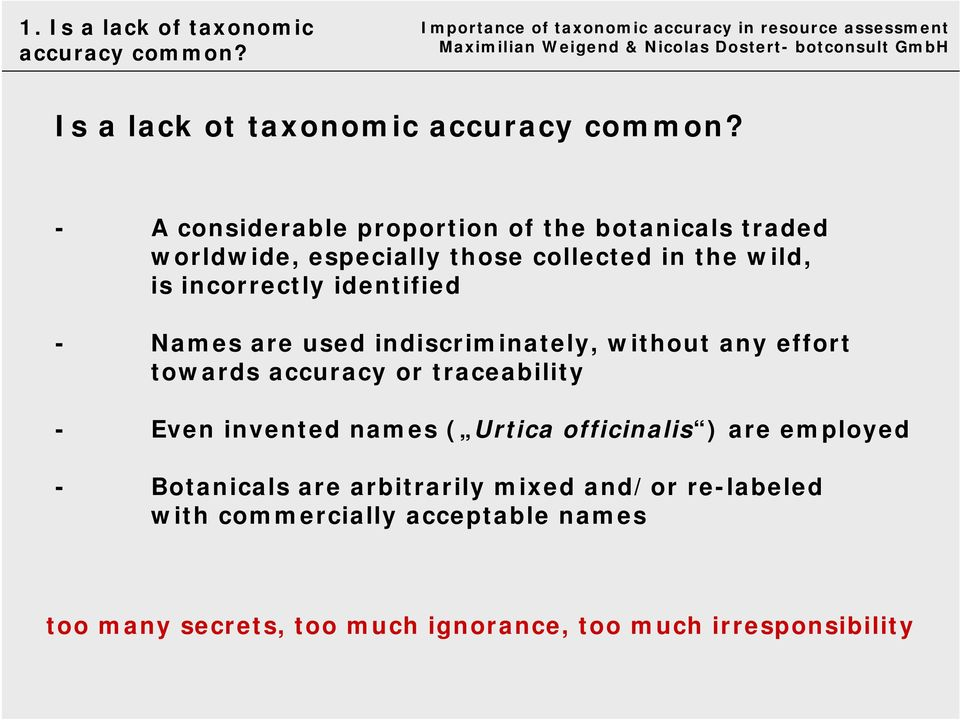 identified - Names are used indiscriminately, without any effort towards accuracy or traceability - Even invented names (