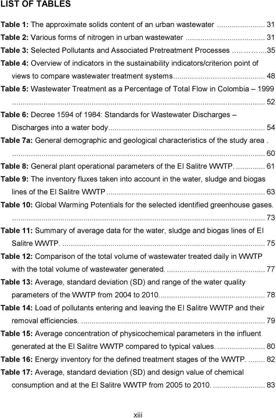 ....35 Table 4: Overview of indicators in the sustainability indicators/criterion point of views to compare wastewater treatment systems.