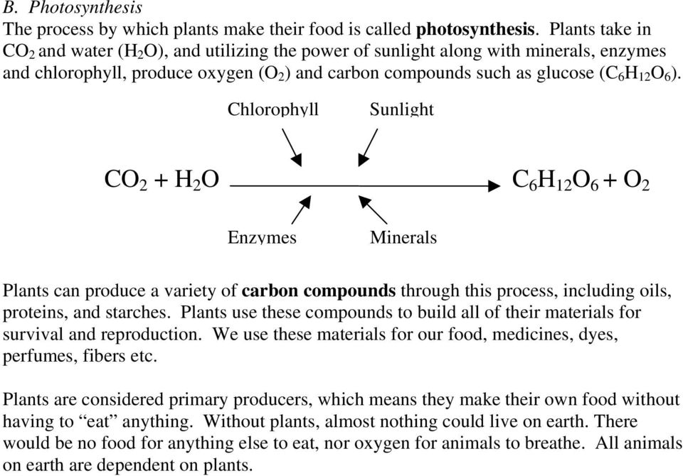 Chlorophyll Sunlight CO 2 + H 2 O C 6 H 12 O 6 + O 2 Enzymes Minerals Plants can produce a variety of carbon compounds through this process, including oils, proteins, and starches.