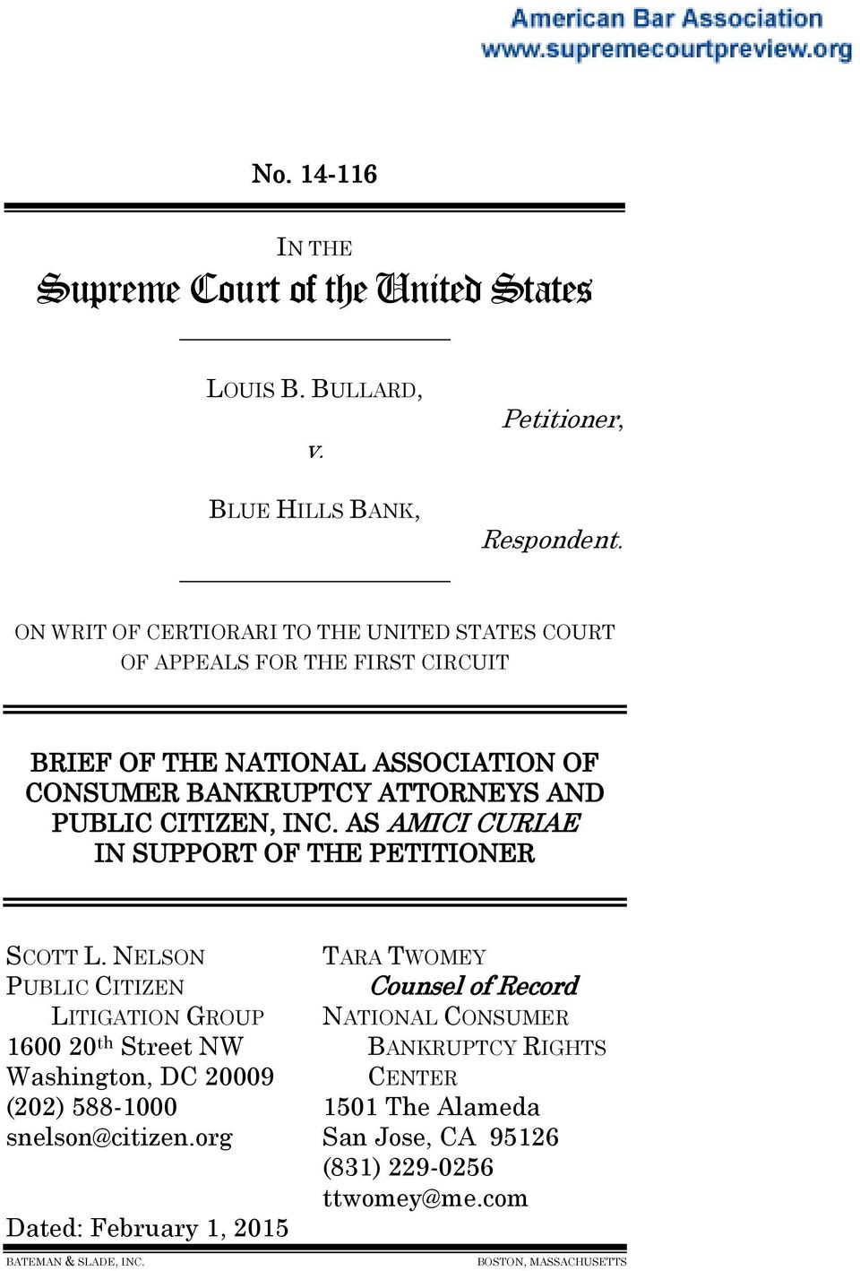CITIZEN, INC. AS AMICI CURIAE IN SUPPORT OF THE PETITIONER SCOTT L.
