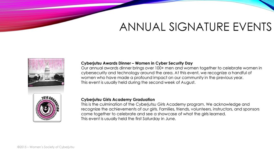 This event is usually held during the second week of August. Cyberjutsu Girls Academy Graduation This is the culmination of the Cyberjutsu Girls Academy program.