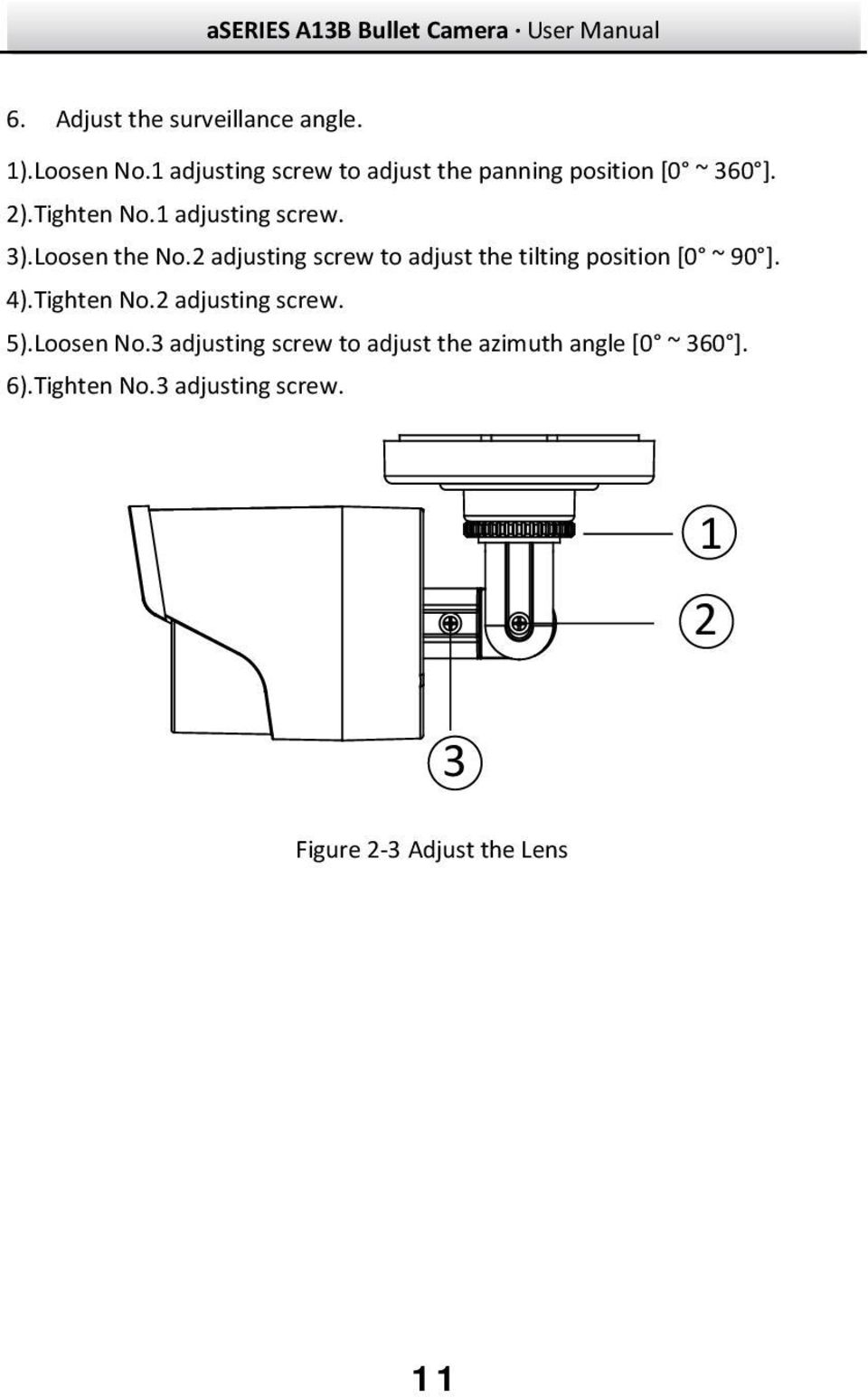 Loosen the No.2 adjusting screw to adjust the tilting position [0 ~ 90 ]. 4).Tighten No.