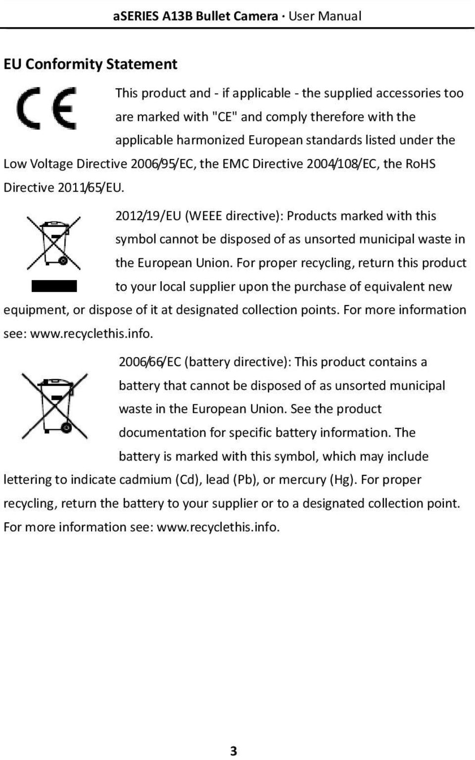 2012/19/EU (WEEE directive): Products marked with this symbol cannot be disposed of as unsorted municipal waste in the European Union.