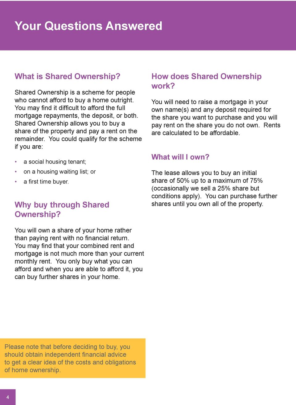You could qualify for the scheme if you are: a social housing tenant; on a housing waiting list; or a first time buyer. Why buy through Shared Ownership? How does Shared Ownership work?