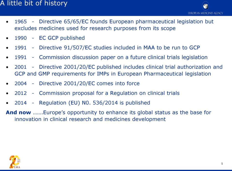 trial authorization and GCP and GMP requirements for IMPs in European Pharmaceutical legislation 2004 - Directive 2001/20/EC comes into force 2012 - Commission proposal for a Regulation on