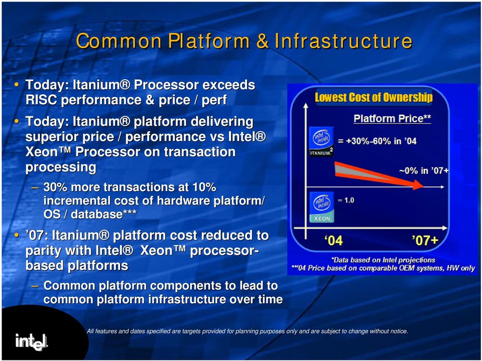 database*** 07: Itanium platform cost reduced to parity with Intel Xeon processor- based platforms Common platform components to lead to common