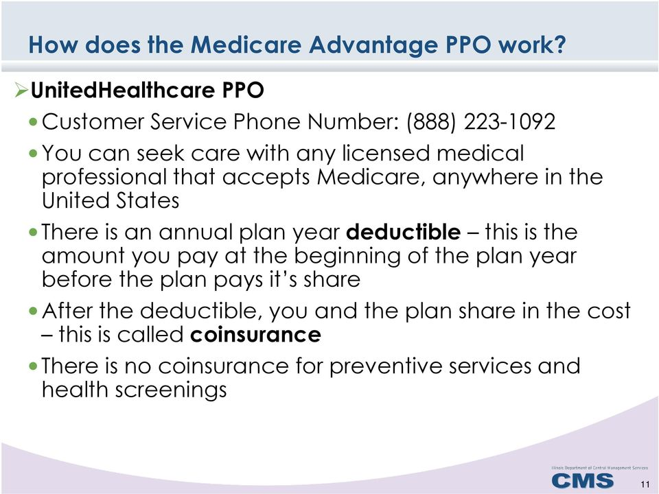 that accepts Medicare, anywhere in the United States There is an annual plan year deductible this is the amount you pay at the