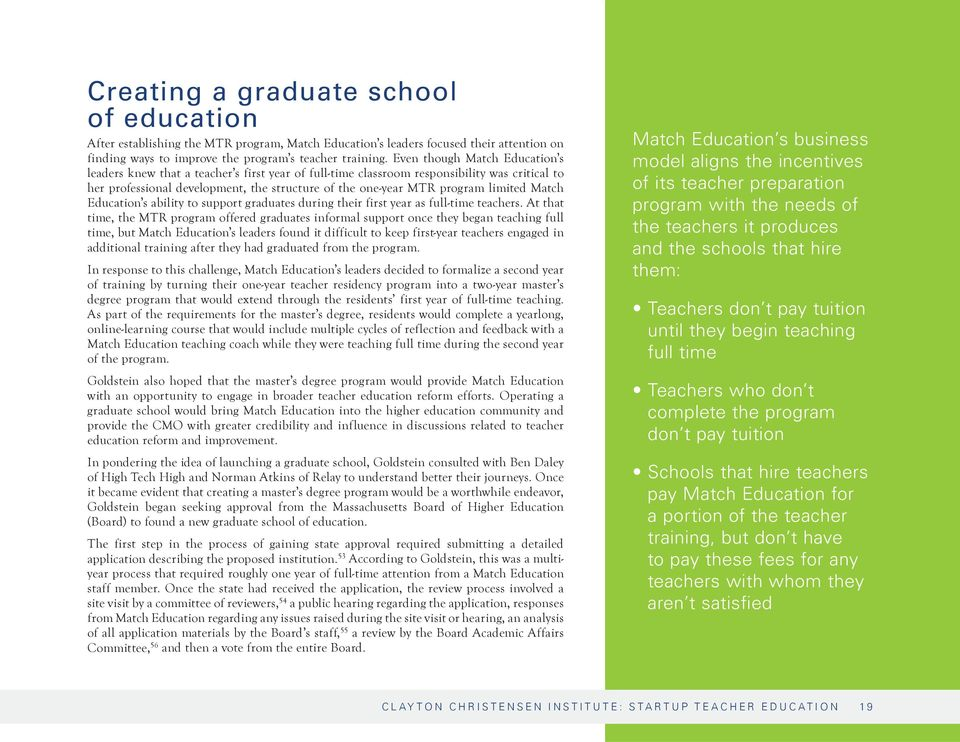 limited Match Education s ability to support graduates during their first year as full-time teachers.