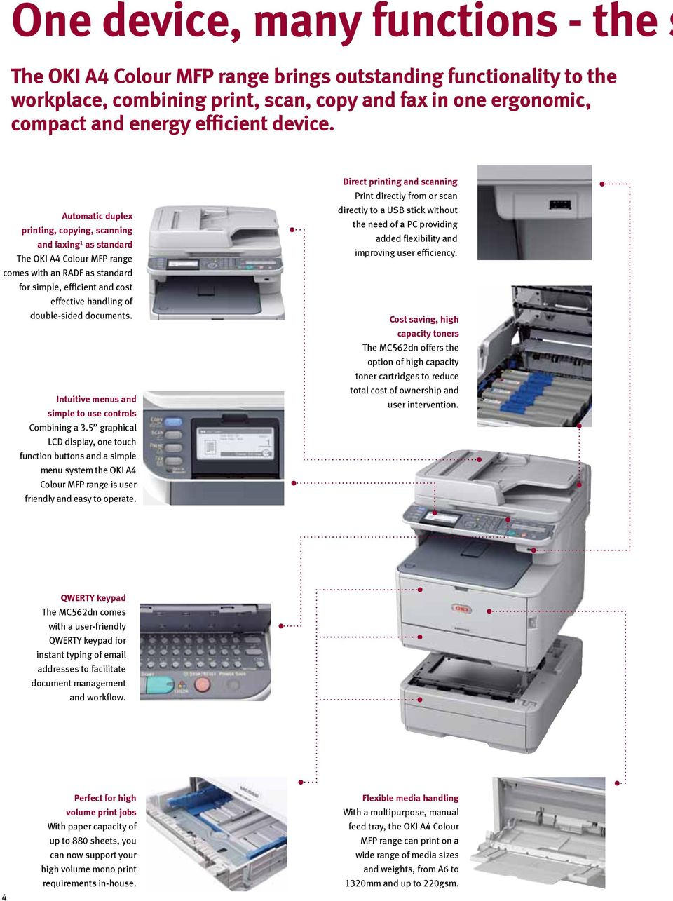 Automatic duplex printing, copying, scanning and faxing 1 as standard The OKI A4 Colour MFP range comes with an RADF as standard for simple, efficient and cost effective handling of double-sided