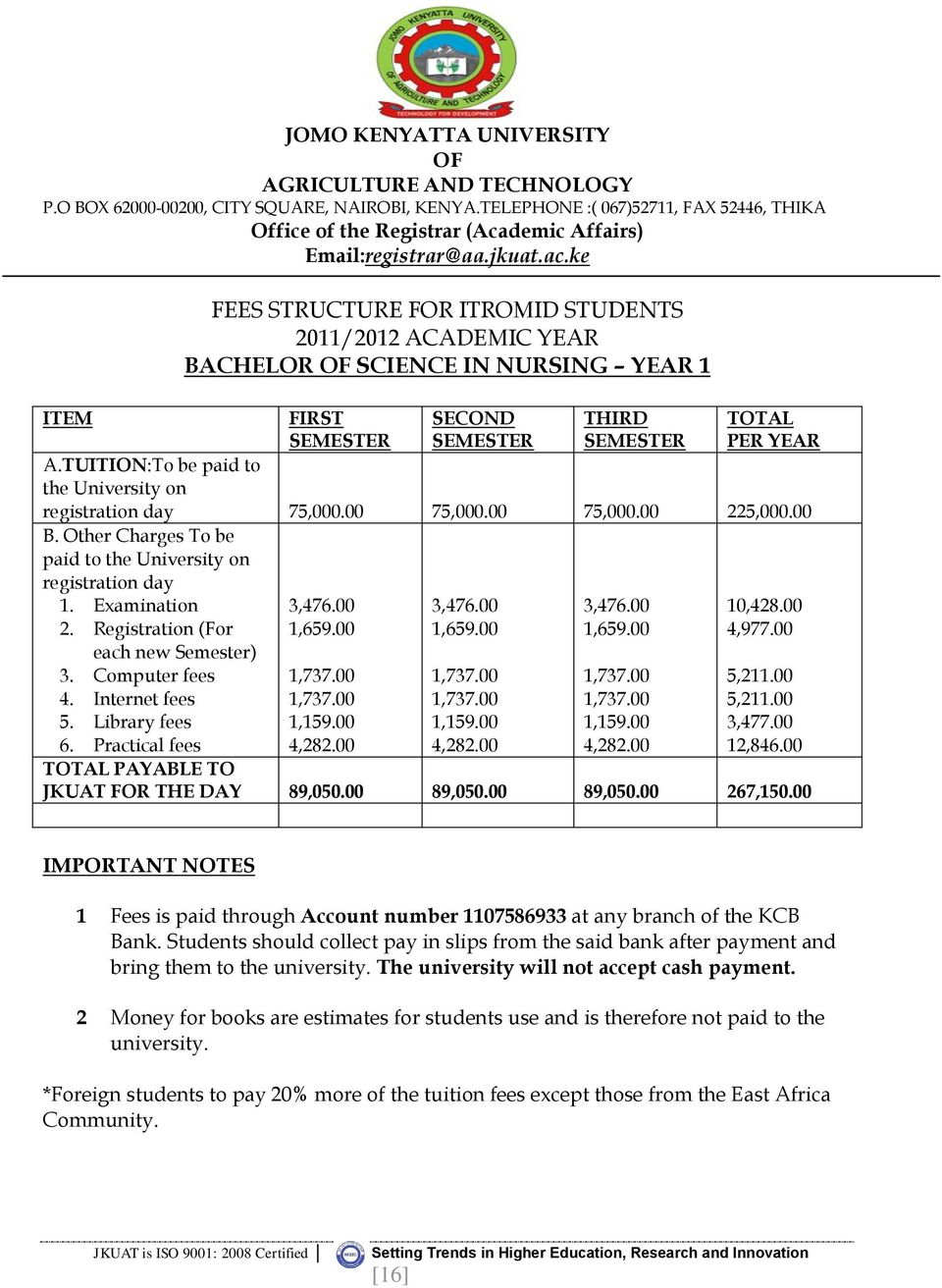 TUITION:To be paid to the University on registration day 75,000.00 75,000.00 75,000.00 225,000.00 B. Other Charges To be paid to the University on registration day 1. Examination 2.