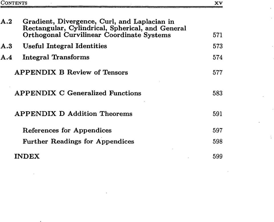 4 Integral Transforms 574 APPENDIX B Review of Tensors 577 APPENDIX C Generalized Functions 583