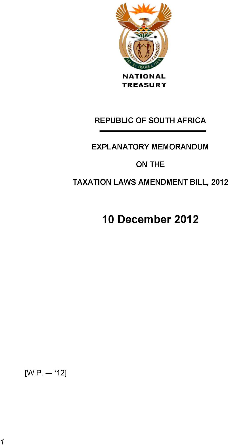 TAXATION LAWS AMENDMENT BILL,