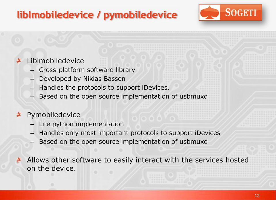 Based on the open source implementation of usbmuxd # Pymobiledevice Lite python implementation Handles only