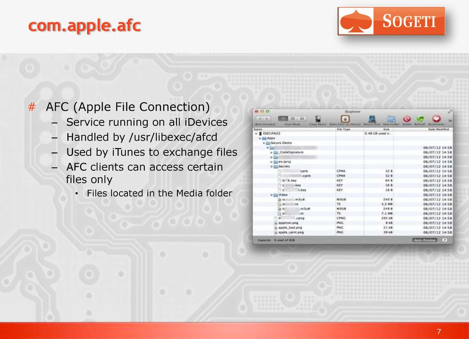 all idevices Handled by /usr/libexec/afcd Used by