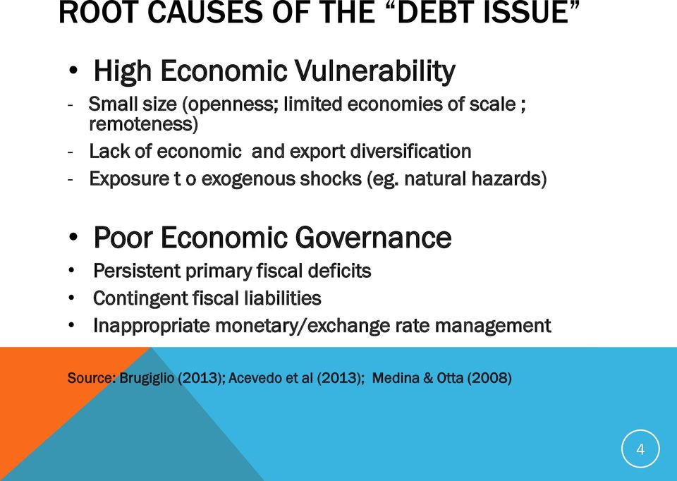 natural hazards) Poor Economic Governance Persistent primary fiscal deficits Contingent fiscal liabilities