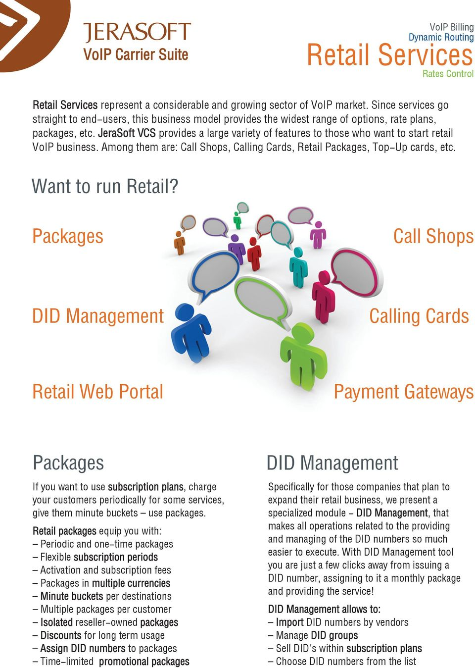 JeraSoft VCS provides a large variety of features to those who want to start retail VoIP business. Among them are: Call Shops, Calling Cards, Retail Packages, Top-Up cards, etc. Want to run Retail?