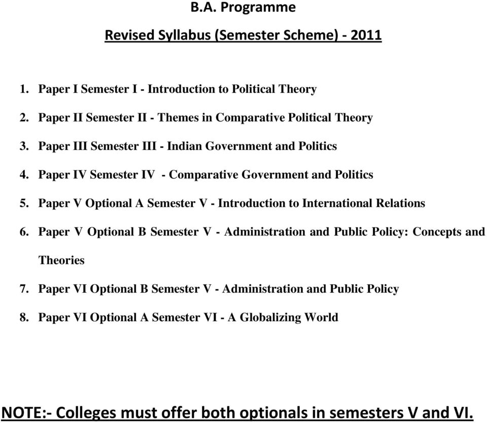 Paper IV Semester IV - Comparative Government and Politics 5. Paper V Optional A Semester V - Introduction to International Relations 6.