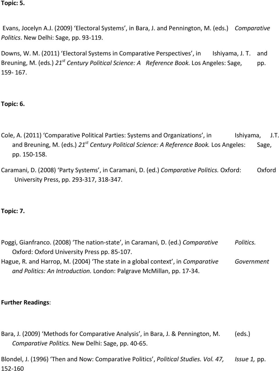 (2011) Comparative Political Parties: Systems and Organizations, in Ishiyama, J.T. and Breuning, M. (eds.) 21 st Century Political Science: A Reference Book. Los Angeles: Sage, pp. 150 158.