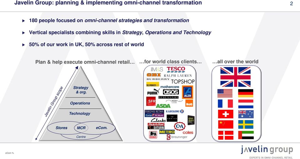 50% of our work in UK, 50% across rest of world Plan & help execute omni-channel retail for world class