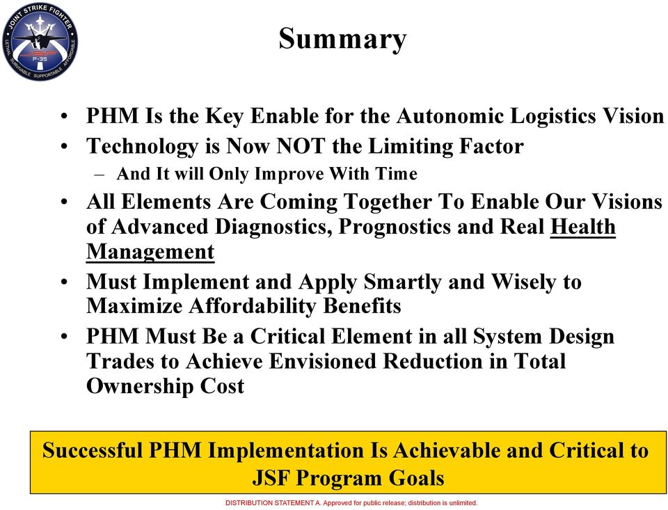 Must Implement and Apply Smartly and Wisely to Maximize Affordability Benefits PHM Must Be a Critical Element in all System Design