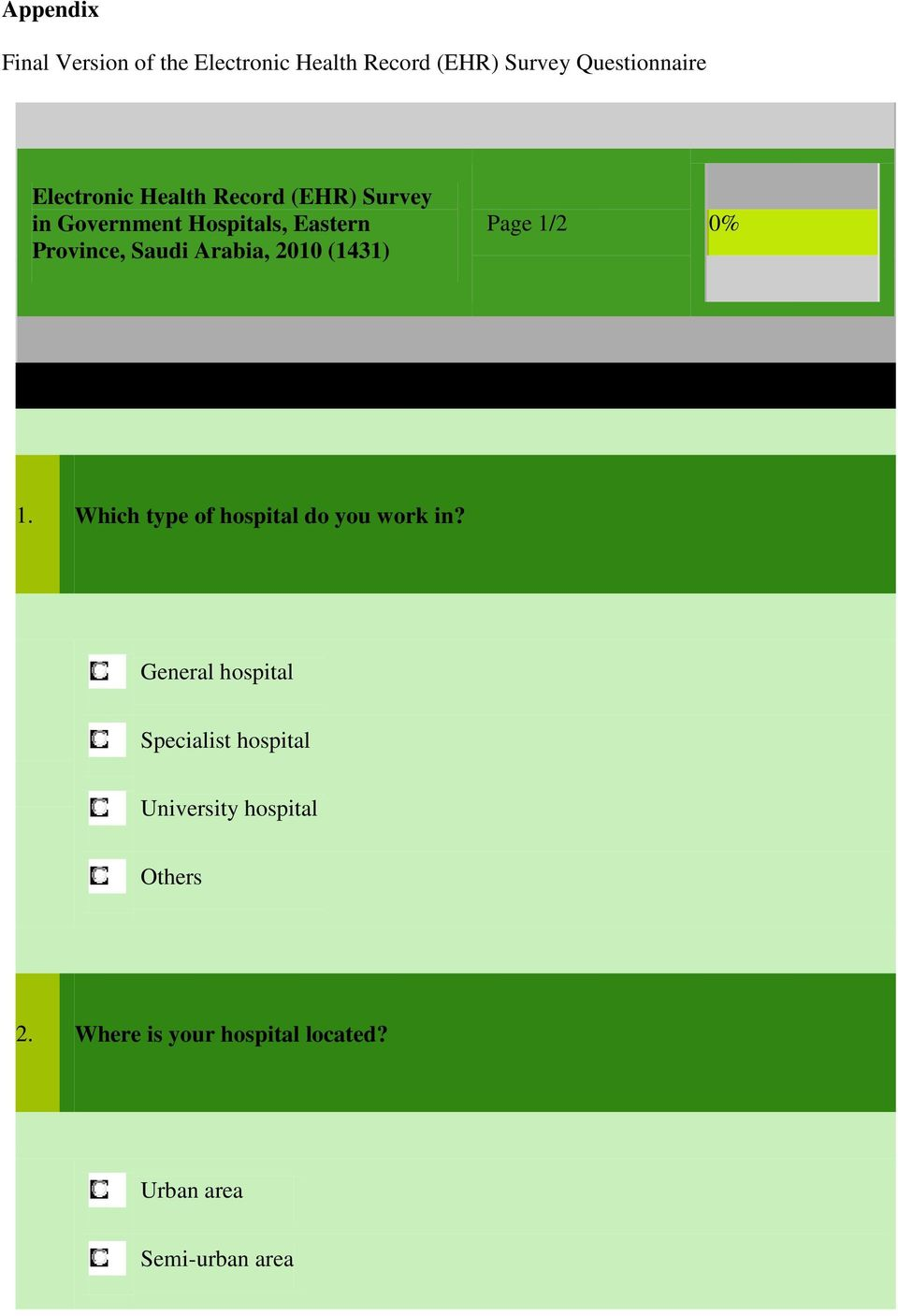 Arabia, 2010 (1431) Page 1/2 0% 1. Which type of hospital do you work in?