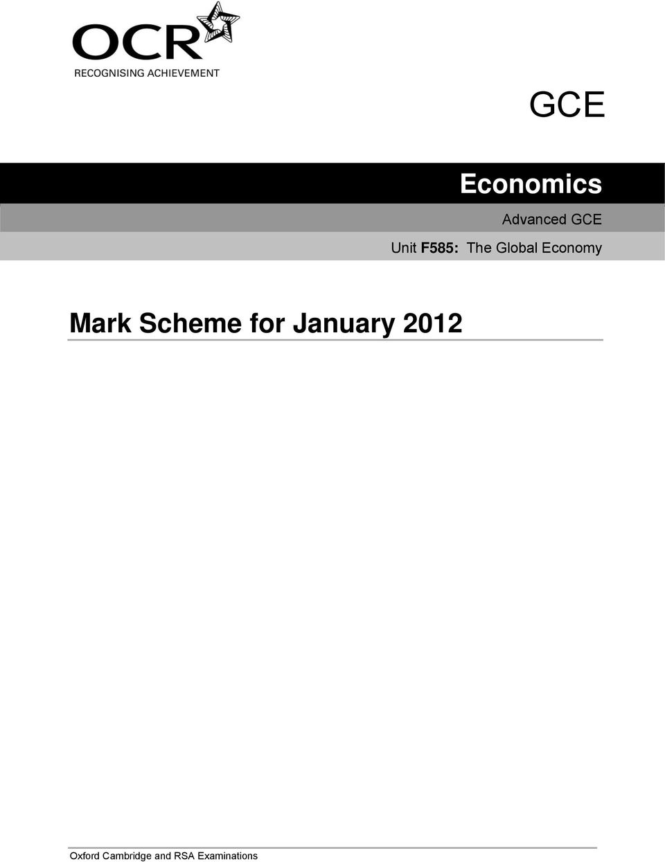 Mark scheme geography cambridge university gce