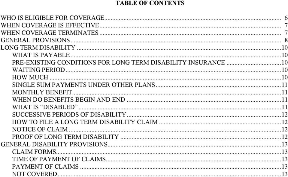 ..11 MONTHLY BENEFIT...11 WHEN DO BENEFITS BEGIN AND END...11 WHAT IS DISABLED...11 SUCCESSIVE PERIODS OF DISABILITY...12 HOW TO FILE A LONG TERM DISABILITY CLAIM.