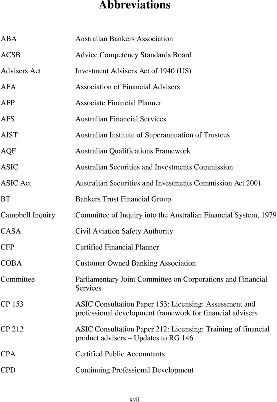 Act Australian Securities and Investments Commission Act 2001 BT Bankers Trust Financial Group Campbell Inquiry Committee of Inquiry into the Australian Financial System, 1979 CASA CFP COBA Committee