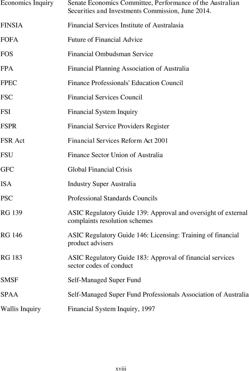Services Council Financial System Inquiry Financial Service Providers Register FSR Act Financial Services Reform Act 2001 FSU GFC ISA PSC RG 139 RG 146 RG 183 SMSF SPAA Finance Sector Union of