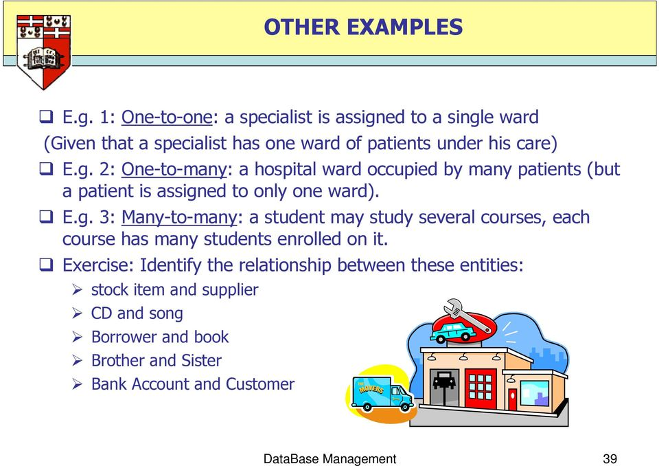 ed to a single ward (Given that a specialist has one ward of patients under his care) E.g. 2: One-to-many: a hospital ward occupied by many patients (but a patient is assigned to only one ward).
