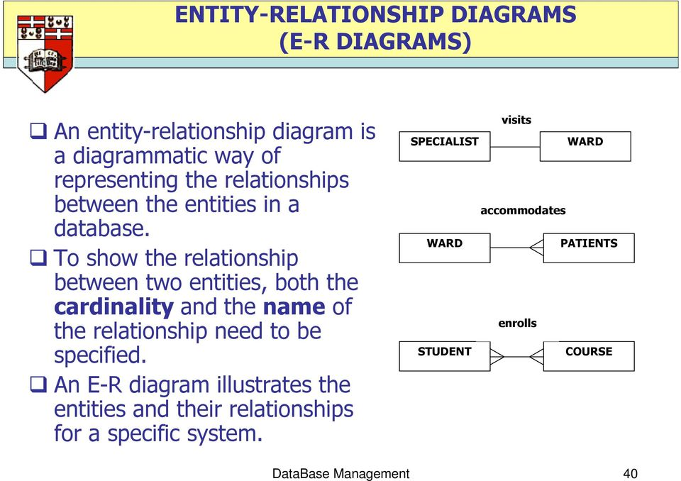To show the relationship between two entities, both the cardinality and the name of the relationship need to be