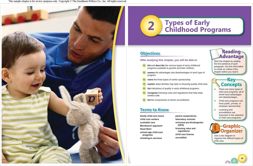 assess the advantages and disadvantages of each type of program. name the three types of center sponsorship. explain steps families may take in choosing quality child care.
