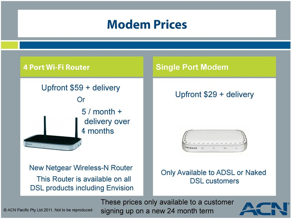 DSL products including Envision Only Available to ADSL or Naked DSL customers ACN Pacific Pty Ltd
