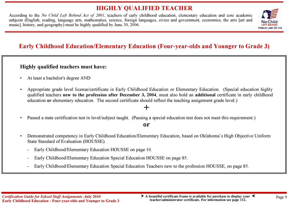 Early Childhood Education/Elementary Education (Four-year-olds and Younger to Grade 3) Highly qualified teachers must have: At least a bachelor's degree AND Appropriate grade level