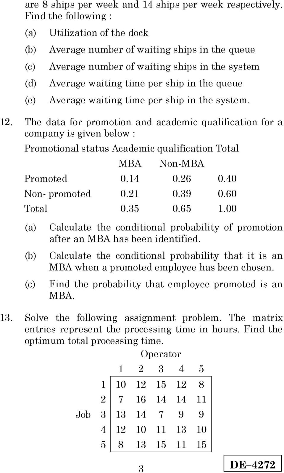 Average waiting time per ship in the system. 1. The data for promotion and academic qualification for a company is given below : Promotional status Academic qualification Total MBA Non-MBA Promoted 0.