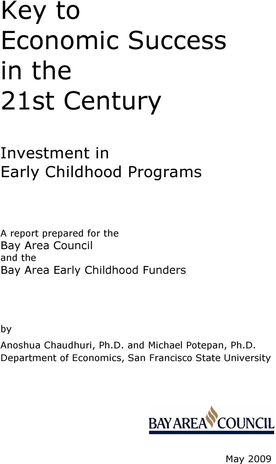 Bay Area Early Childhood Funders by Anoshua Chaudhuri, Ph.D.