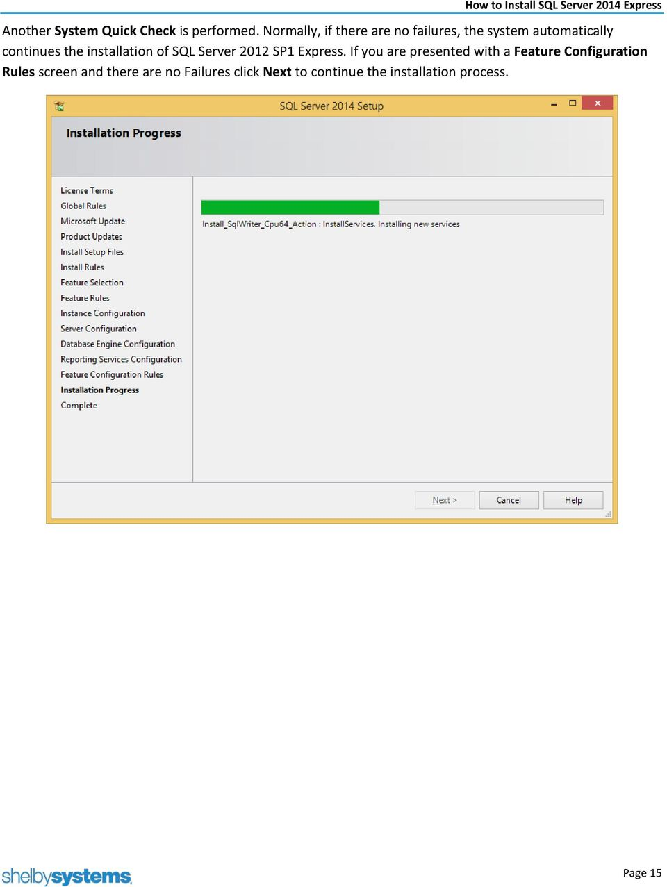 installation of SQL Server 2012 SP1 Express.