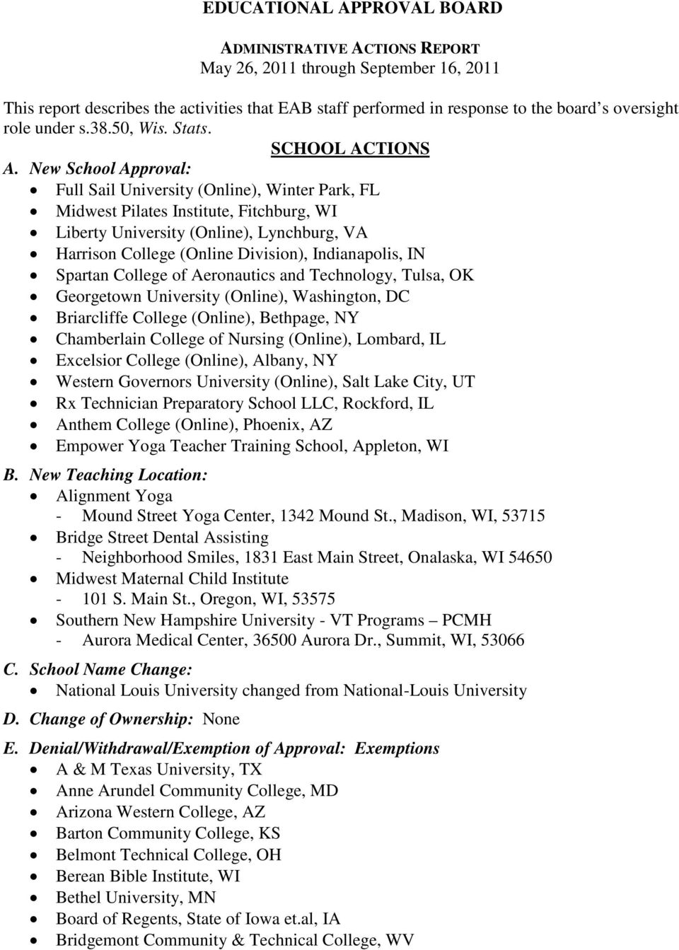 New School Approval: Full Sail University (Online), Winter Park, FL Midwest Pilates Institute, Fitchburg, WI Liberty University (Online), Lynchburg, VA Harrison College (Online Division),